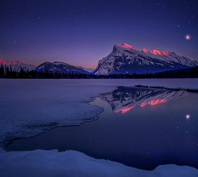 Photograph - Crescent Moon Alpenglow // Vermillion Lakes, Alberta  by Nicholas Parker