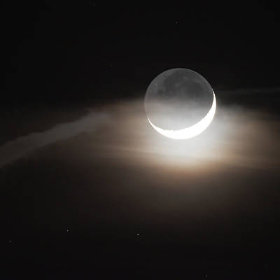Photograph - Crescent Moon And Earthshine January 2017 Square by Terry DeLuco