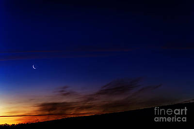 Crescent Moon And First Light Print by Thomas R Fletcher