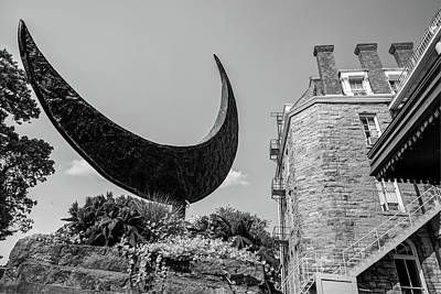 Photograph - Crescent Moon Black And White - Eureka Springs Hotel by Gregory Ballos