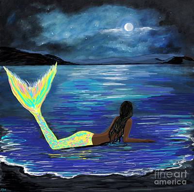Painting - Crescent Moon Bright Mermaid by Leslie Allen