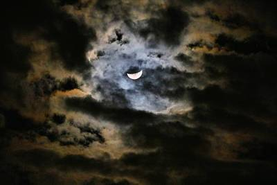 Photograph - Crescent Moon In Iridescent Clouds by Kathryn Meyer