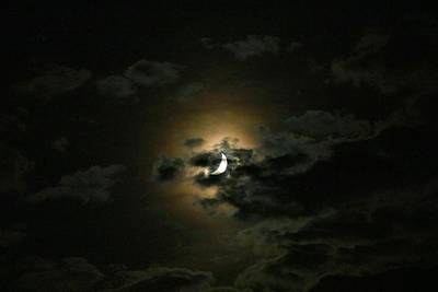 Photograph - Crescent Moon In The Clouds 1 by Kathryn Meyer