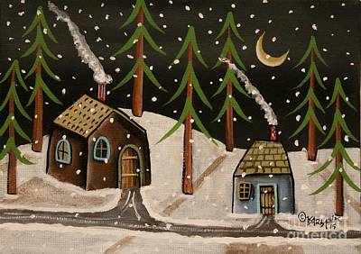 Folk Art Painting - Crescent Moon by Karla Gerard
