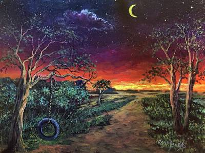 Painting - Crescent Moon Memories by Randy Burns