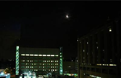 Photograph - Crescent Moon Over Baptist Hospital by Kathryn Meyer