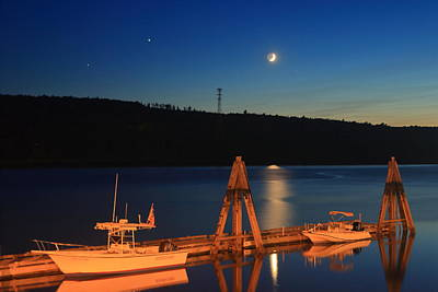 Photograph - Crescent Moon Over Bucksport Maine Riverfront by John Burk