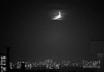 Photograph - Crescent Moon Over City by Charline Xia