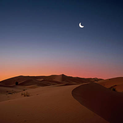 Morocco Photograph - Crescent Moon Over Dunes by Photo by John Quintero