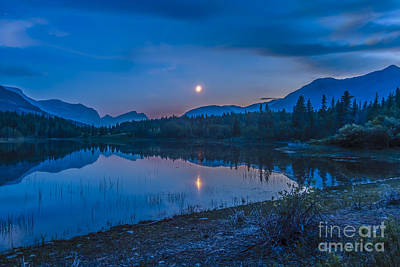 Crescent Moon Over Middle Lake In Bow Art Print