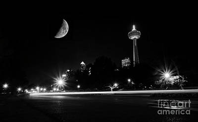 Photograph - Crescent Moon Over Niagara Falls City Mono by Charline Xia