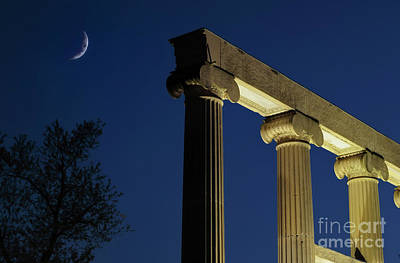 Photograph - Crescent Moon Over Old Pillars by Charline Xia