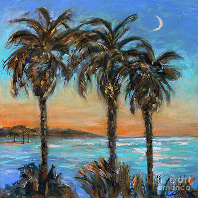 Painting - Crescent Moon Over Palms by Linda Olsen
