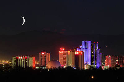 Photograph - Crescent Moon Over Reno by Donna Kennedy