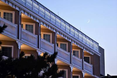 Crescent Moon Over The Boardwalk Plaza Hotel Art Print