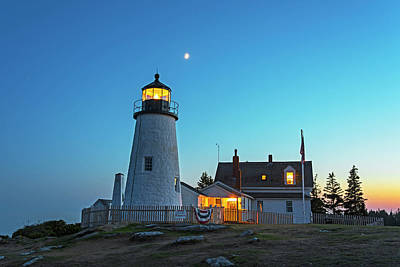 Photograph - Crescent Moon Over The Pemaquid Point Lighthouse Pemaquid Me by Toby McGuire