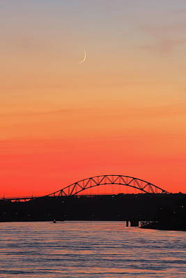 Photograph - Crescent Moon Setting Over Cape Cod Canal by John Burk