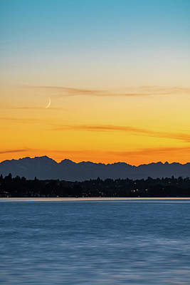 Photograph - Crescent Moon Sunset by Ken Stanback