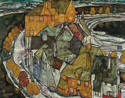 Crescent Of Houses II  Art Print by Egon Schiele