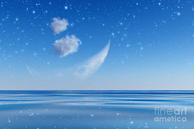 Fantasy Bark Photograph - Crescent Over Sea by Aleksey Tugolukov