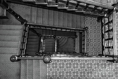 Photograph - Crescent Stairwell Grayscale by Jennifer White