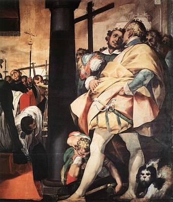 St. Charles Digital Art - Crespi Giovanni Battista St Charles Bprromeo Erecting Crosses At The Gates Of Milan Detail by Anne Pool