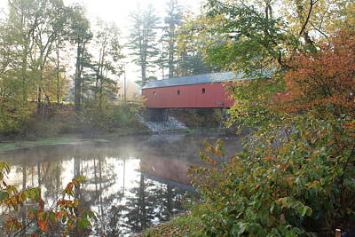 Photograph - Cresson Covered Bridge Autumn Morning by John Burk