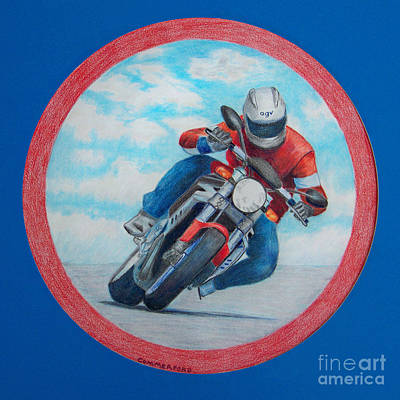 Bike Drawing - Cresting The Hill - Agusta Brutale by Brian  Commerford