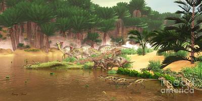 Cretaceous Dinosaur River Art Print by Corey Ford