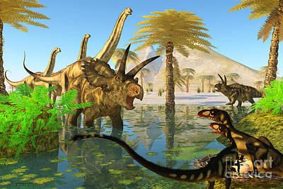 Titans Painting - Cretaceous Swamp by Corey Ford