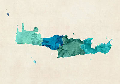 Crete Digital Art - Crete Watercolor Map by Michael Tompsett