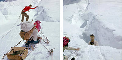 Abstract Oil Paintings Color Pattern And Texture - T-104106-comp-Crevasse Rescue on Mt. Baker, WA 1957 by Ed  Cooper Photography