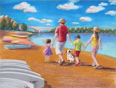 Pastel - Creve Coeur  Lake Park In St Louis by Ping Yan