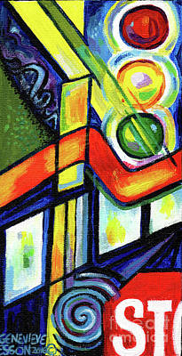 Painting - Creve Coeur Streetlight Banners Whimsical Motion 17 by Genevieve Esson