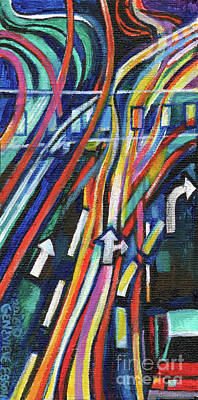 Painting - Creve Coeur Streetlight Banners Whimsical Motion 20 by Genevieve Esson