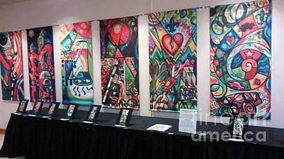 Painting - Creve Coeur Whimsical Motion Art Show And Banners On Display At Creve Coeur City Hall by Genevieve Esson