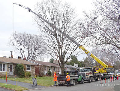Snow Removal Photograph - Crew Replacing Telephone Poles by Scimat