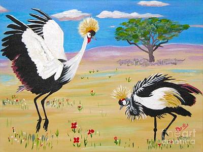 Painting - Grey Crowned Cranes Courting by Phyllis Kaltenbach
