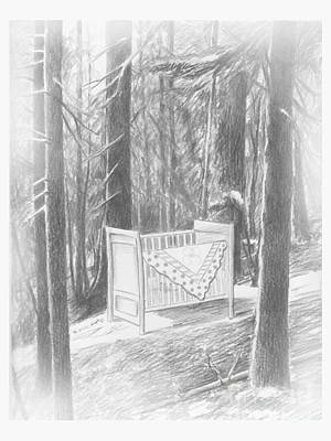 Drawing - Crib In The Forest Dear Granny by Kathryn Donatelli