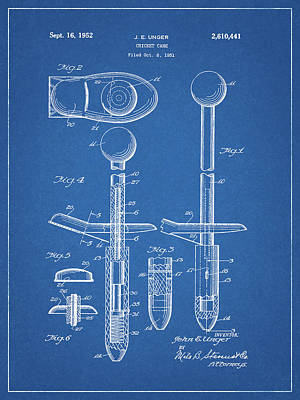 Drawing - Cricket Bat Patent by Dan Sproul