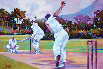 Painting - Cricket In The Park by Glenford John