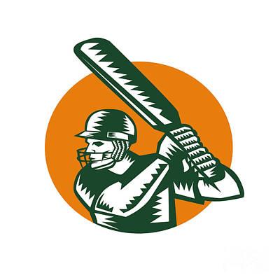 Cricket Player Batsman Batting Circle Woodcut Art Print