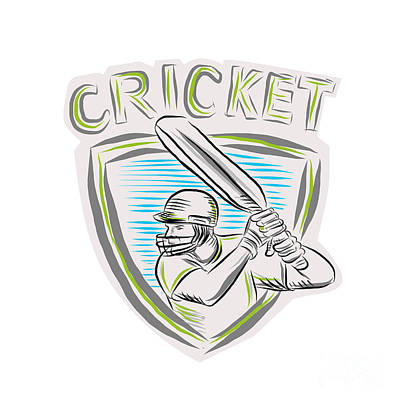 Batsman Digital Art - Cricket Player Batsman Batting Shield Etching by Aloysius Patrimonio