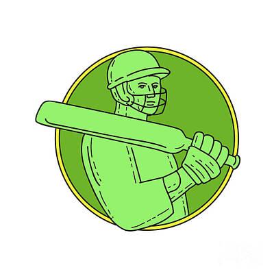 Cricket Player Batsman Circle Mono Line Art Print
