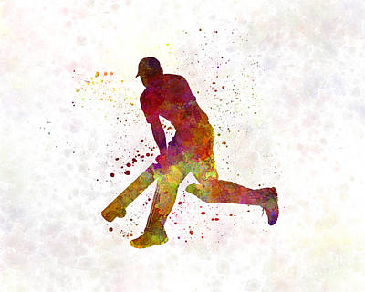 Cricket Player Batsman Silhouette 03 Art Print