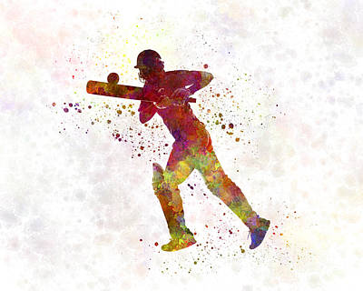 Cricket Painting - Cricket Player Batsman Silhouette 06 by Pablo Romero