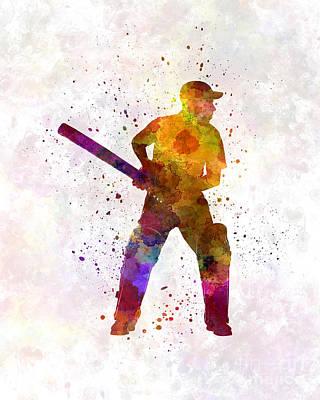 Cricket Player Batsman Silhouette 07 Art Print