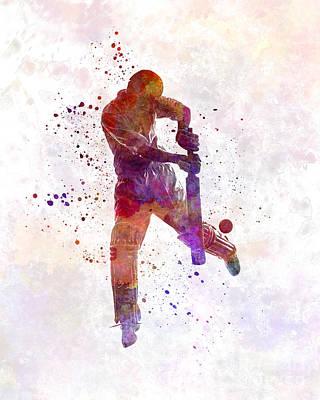 Cricket Player Batsman Silhoutte Art Print