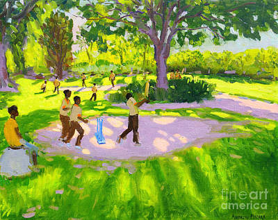 Ground Painting - Cricket Practice by Andrew Macara