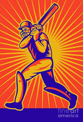 Batsman Digital Art - Cricket Sports Batsman Batting by Aloysius Patrimonio